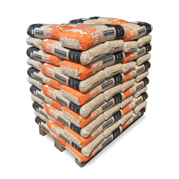 Holzpelletsauch in geringen Mengen: Sackware auf Palette